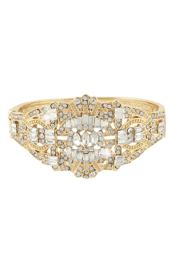 Gatsby Vintage 1920's Style Diamante Bracelet - Deco Gold Bangle - The Deco Haus