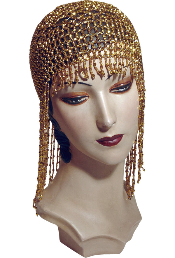 The Jazz Baby Flapper Fringe 20's Party Cap - Gold - The Deco Haus