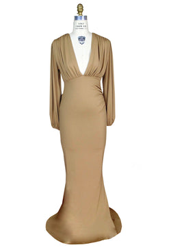 1930's Style Bias Ruched Long Sleeve Full-Length Hayworth Gown - Gold - The Deco Haus