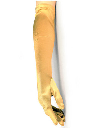 Vintage Style Satin Long Opera Evening Glove - Gold - The Deco Haus