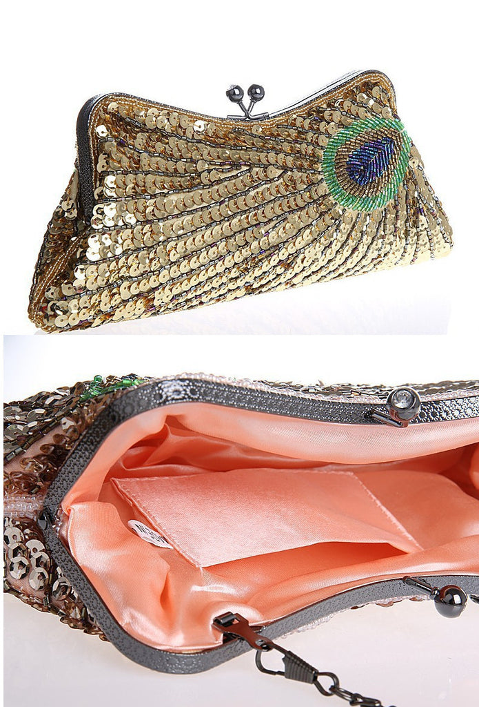 1930's Deco Beaded Evening Purse Peacock Sequin Gold