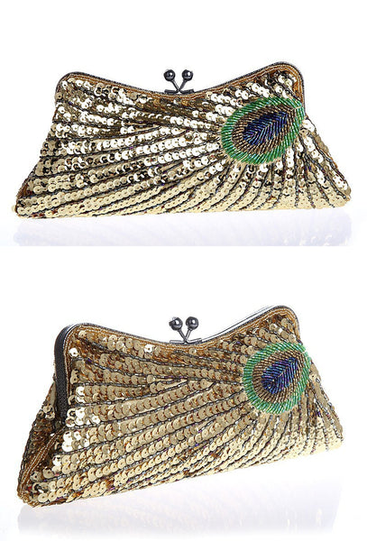 1930's Inspired Art Deco Beaded Beaded Evening Purse - Gold