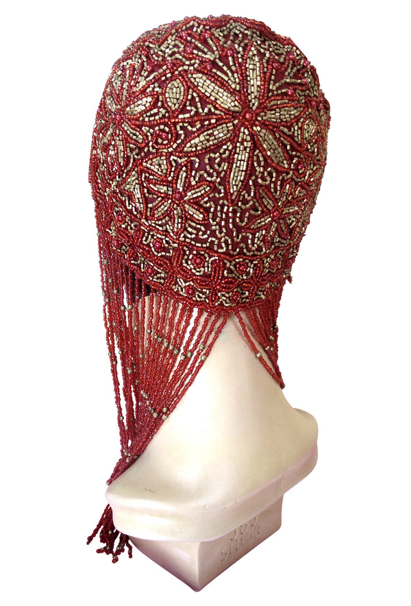 1920s Hand Beaded Gatsby Flapper Party Cap - Long Fringe - Red & Gold - The Deco Haus