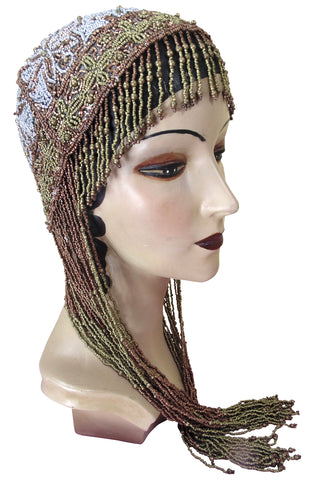 1920s Hand Beaded Gatsby Flapper Party Cap - Long Fringe - Gold & Silver - The Deco Haus