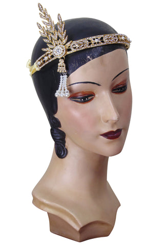 "The ""Great Gatsby"" Flapper Rhinestone Vintage 1920s Daisy Tiara - Gold - The Deco Haus"