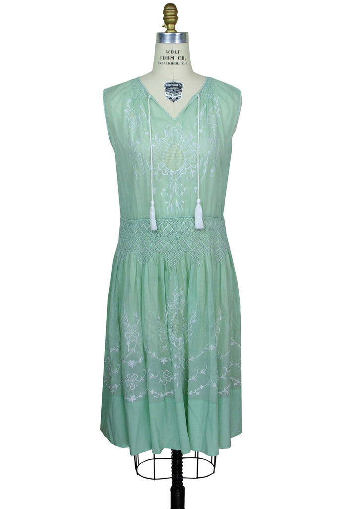 Downton Abbey Inspired Dresses 1930s Vintage Embroidered Voile Dress - The Keepsake - Nile Green $174.95 AT vintagedancer.com