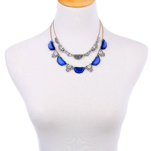 The Art Deco Statement Vintage Double Crystal Necklace - Cobalt - The Deco Haus