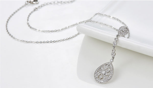 Art Deco 1920's Tearbrop Bridal Necklace Pave Silver Diamond