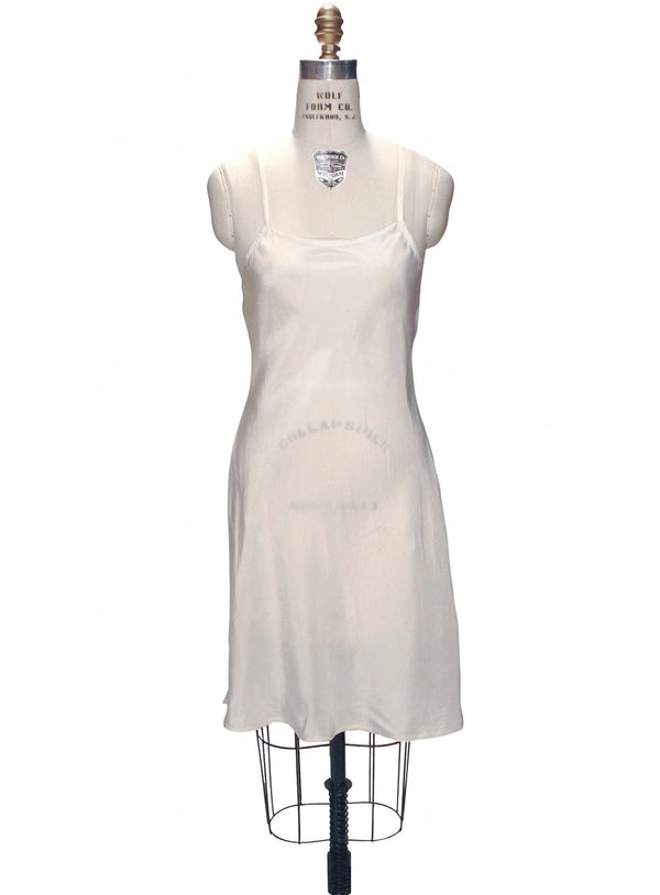 1920's Style Habutai Silk Glamour Flapper Slip Dress - Ivory - The Deco Haus