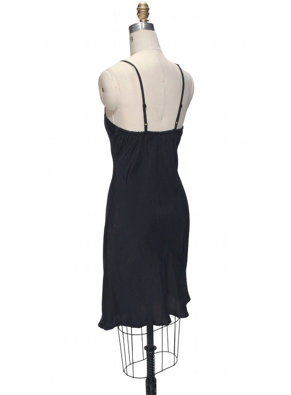 1920's Style Habutai Silk Glamour Flapper Slip Dress - Kohl - The Deco Haus