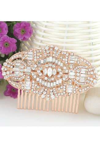 The Bella Austrian Crystal Vintage Bridal Hair Comb - Rose Gold - The Deco Haus