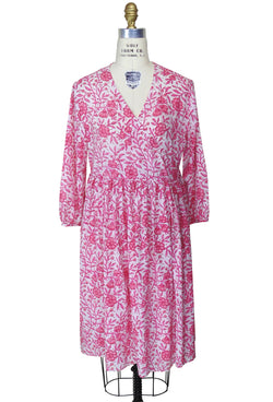 Hand-Blocked Organic Cotton Vintage Style Wrap Dress - The Deco Haus