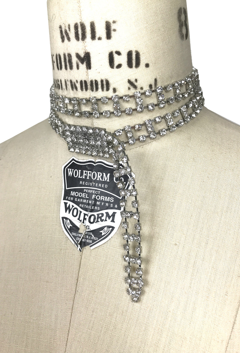 Hollywood Deco Vintage Rhinestone Buckle Logo Choker Necklace by The Deco Haus - The Deco Haus