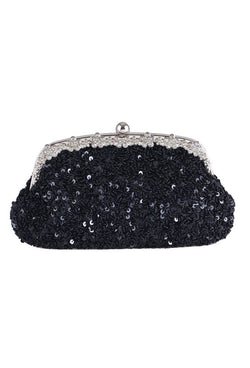 Hollywood Inspired Vintage Beaded Sequin Glamour Clutch Purse - Black