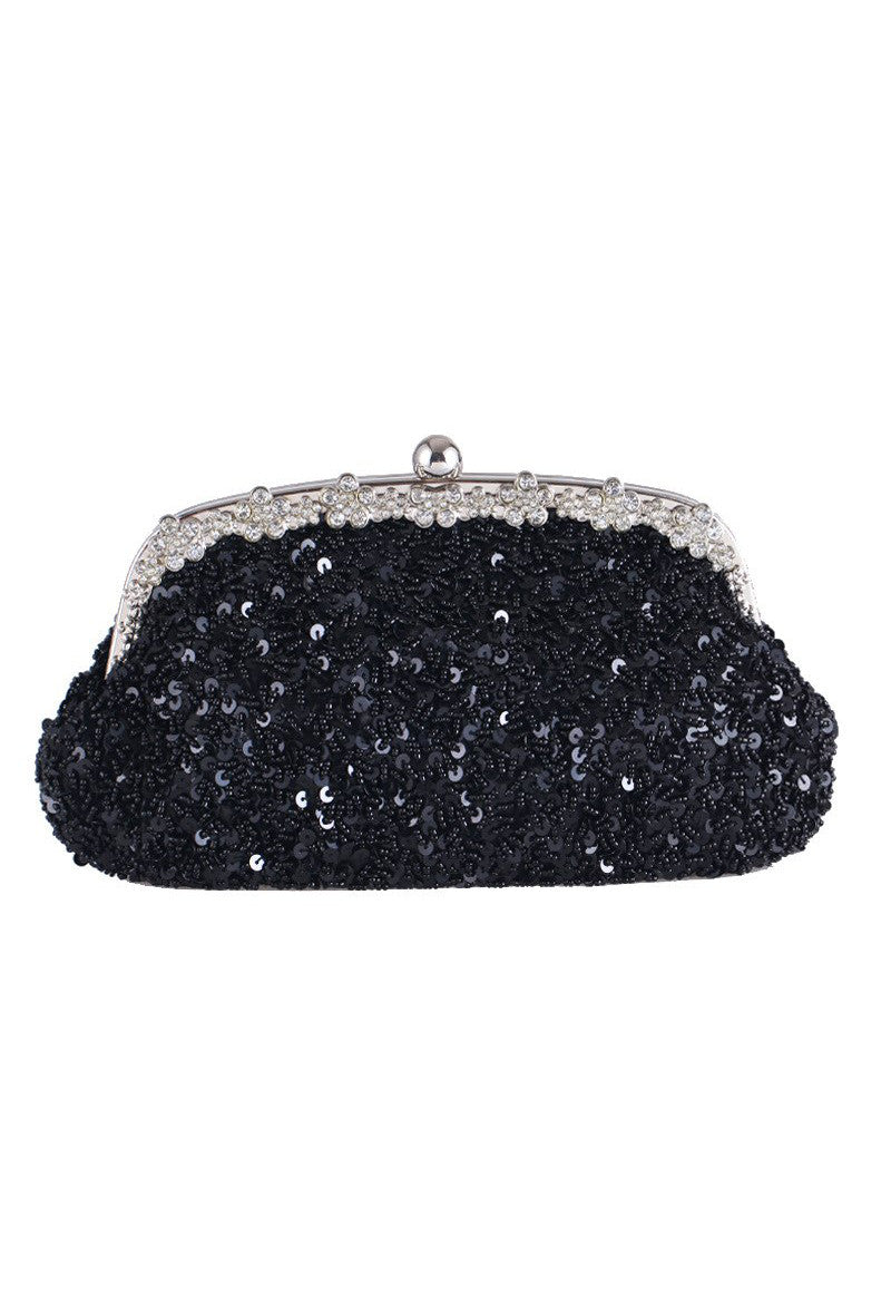 Hollywood Inspired Vintage Beaded Sequin Glamour Clutch Purse - Black - The Deco Haus