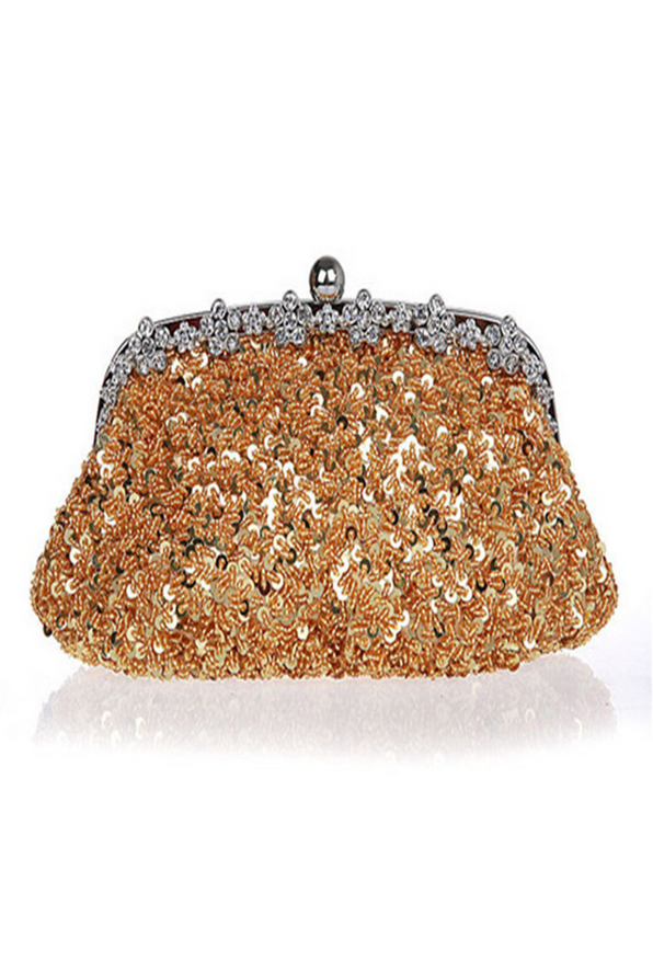 Hollywood Inspired Vintage Beaded Sequin Glamour Clutch Purse - Gold - The Deco Haus