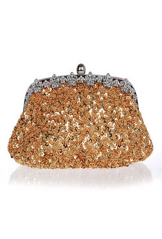 Hollywood Inspired Vintage Beaded Sequin Glamour Clutch Purse - Gold