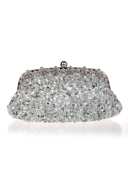 Hollywood Inspired Vintage Beaded Sequin Glamour Clutch Purse - Silver - The Deco Haus