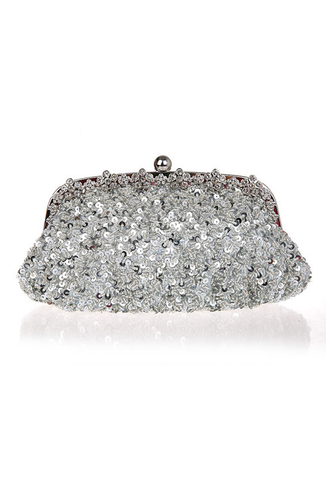 Hollywood Inspired Vintage Beaded Sequin Glamour Clutch Purse - Silver