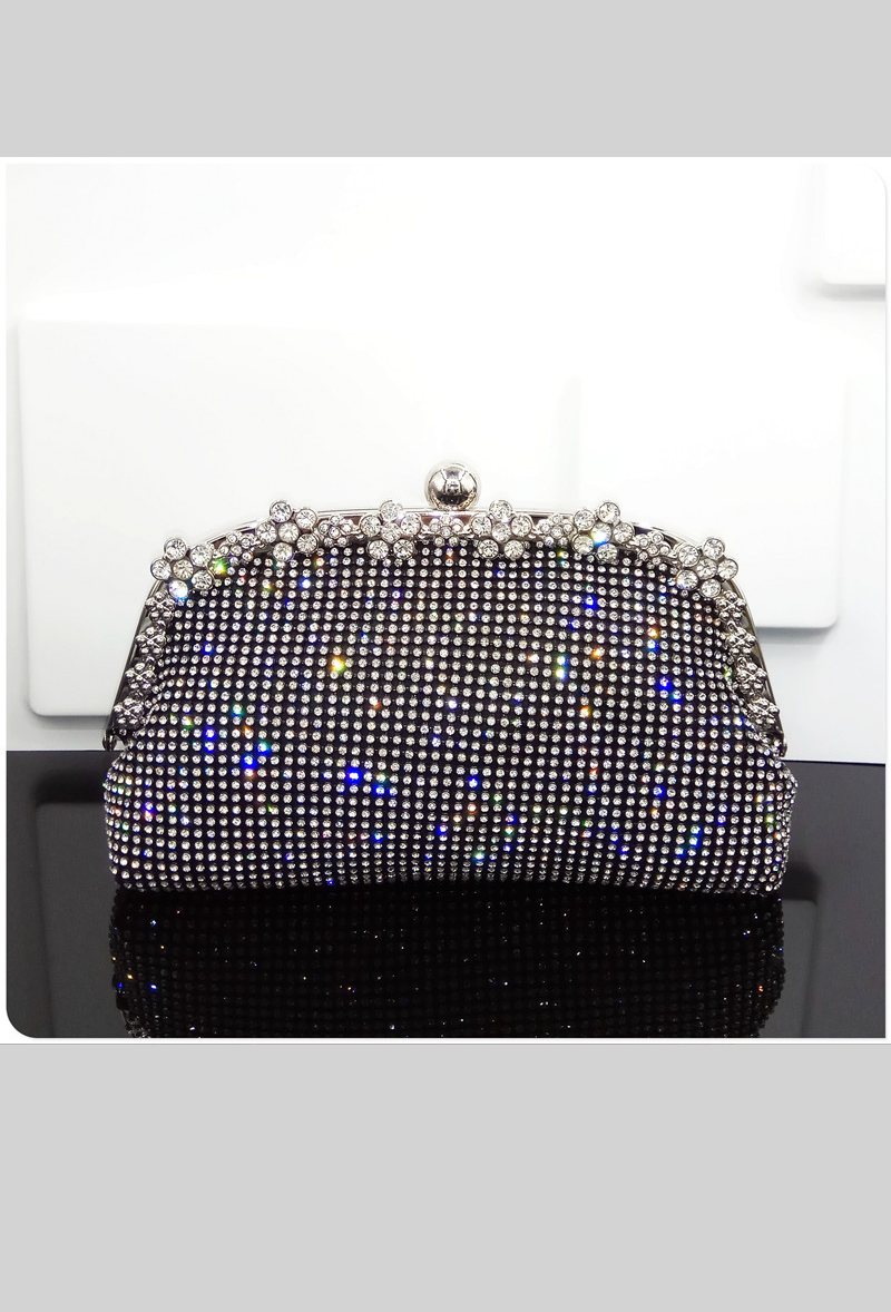 Hollywood Inspired Vintage Crystal Mesh Glamour Clutch Purse - Black - The Deco Haus
