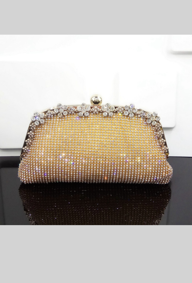 Hollywood Inspired Vintage Crystal Mesh Glamour Clutch Purse - Gold