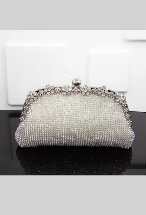 Hollywood Inspired Vintage Crystal Mesh Glamour Clutch Purse - Silver - The Deco Haus