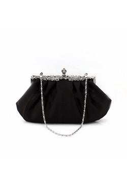 1920s Handbags, Purses, and Shopping Bag Styles HOLLYWOOD INSPIRED VINTAGE SATIN GLAMOUR CLUTCH PURSE - BLACK $54.95 AT vintagedancer.com