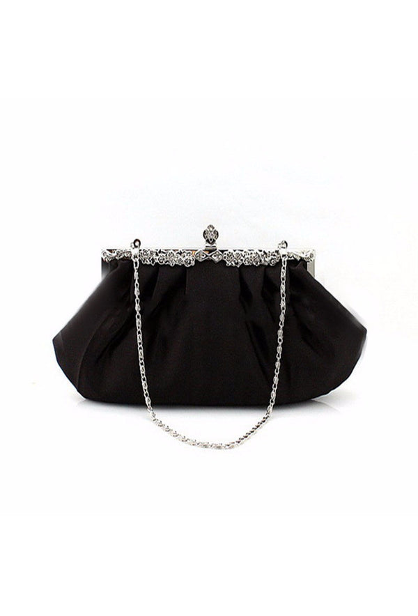 Hollywood Inspired Vintage Satin Glamour Clutch Purse - Black - The Deco Haus