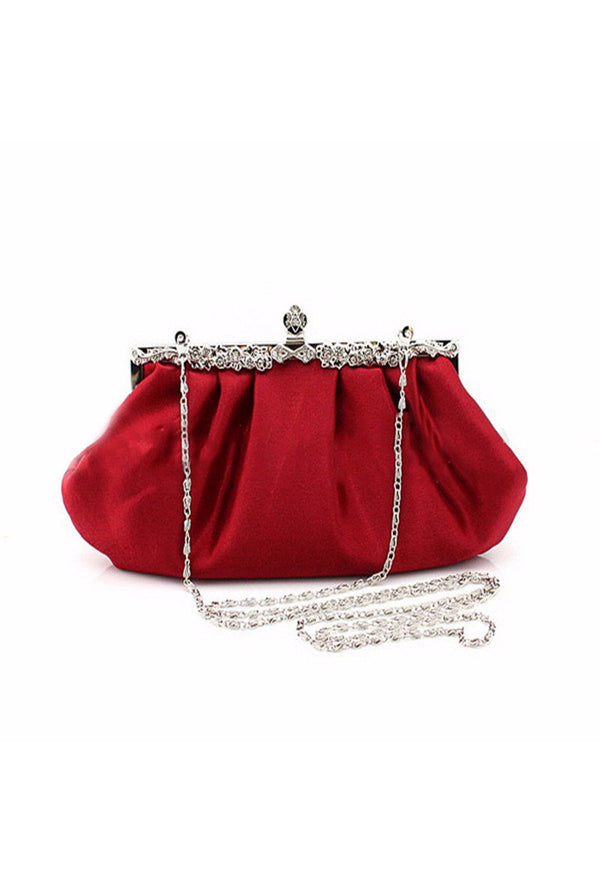 Hollywood Inspired Vintage Satin Glamour Clutch Purse - Red