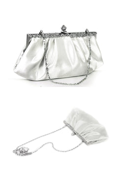 Hollywood Inspired Vintage Satin Glamour Clutch Purse - White