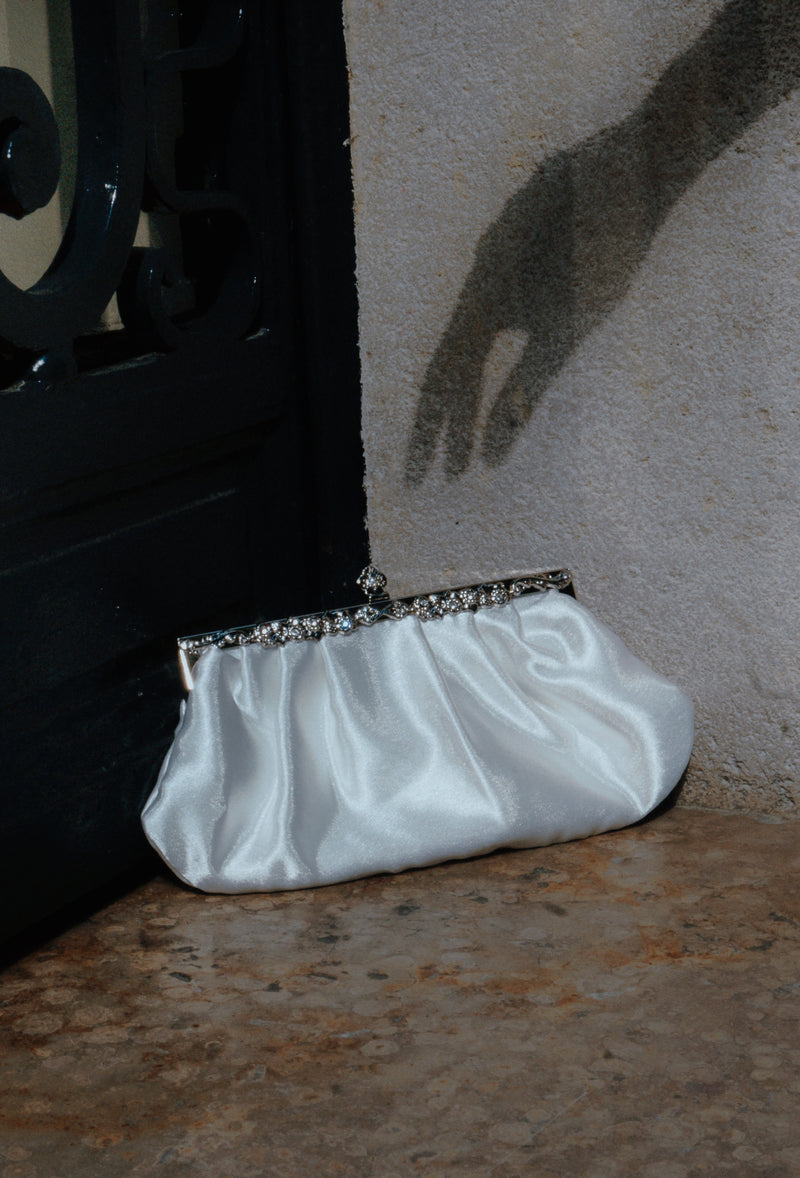 Hollywood Inspired Vintage Satin Glamour Clutch Purse - White - The Deco Haus