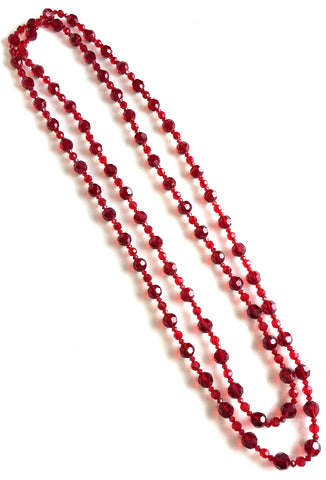 Victorian Czech Glass Crystal Beaded Ultra Long Multi-Facet Necklace - Ruby Red