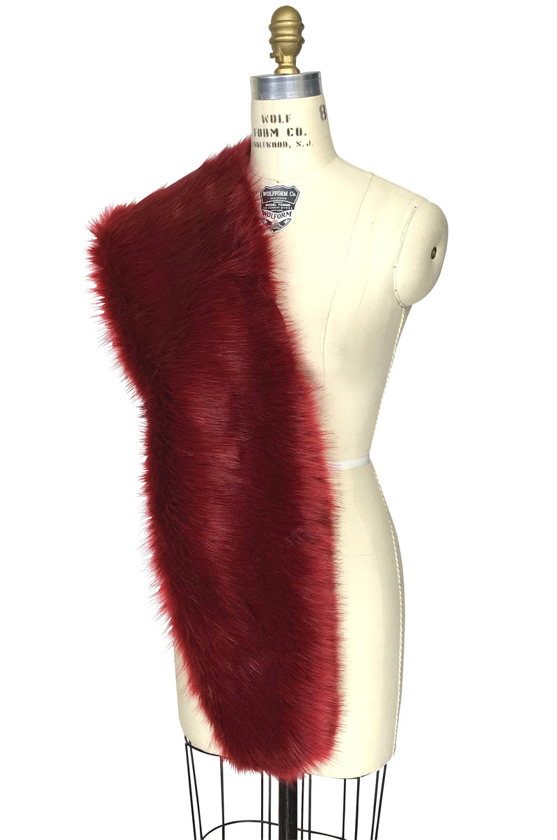 The Marilyn Luxury Vintage Faux Fur Shrug Wrap - Blood Red - The Deco Haus
