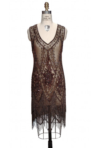 1920's Vintage Flapper Beaded Fringe Gatsby Gown - The Icon - Cocoa - The Deco Haus