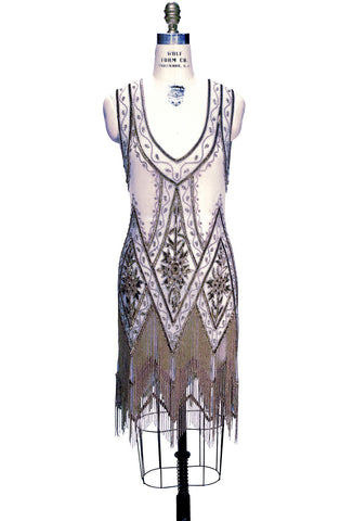 1920's Vintage Flapper Beaded Fringe Gatsby Gown - The Icon - Powder Blue - The Deco Haus