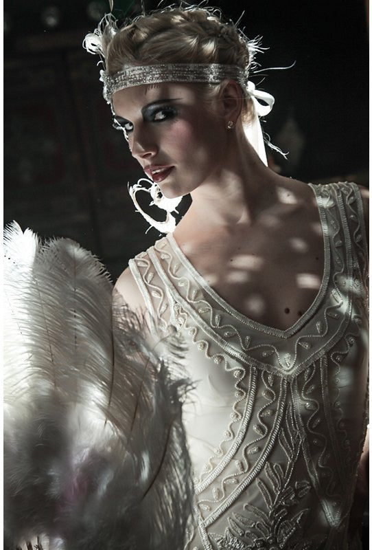 1920's Vintage Flapper Beaded Fringe Gatsby Wedding Bridal Gown - Cut Out Back - The Icon - Bone - The Deco Haus
