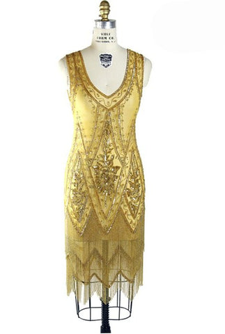 1920's Vintage Flapper Beaded Fringe Gatsby Gown - The Icon - Butterscotch - The Deco Haus