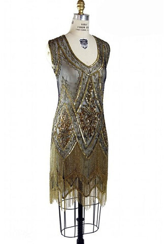 1920's Vintage Flapper Beaded Fringe Gatsby Gown - The Icon - Gold on Jet - The Deco Haus