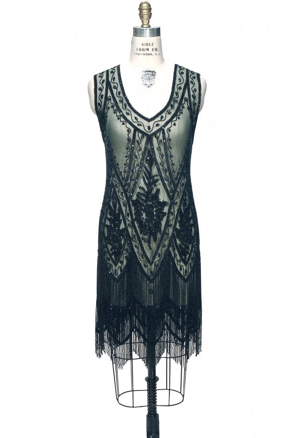 1920's Vintage Flapper Beaded Fringe Gatsby Gown - The Icon - Bottle Green - The Deco Haus