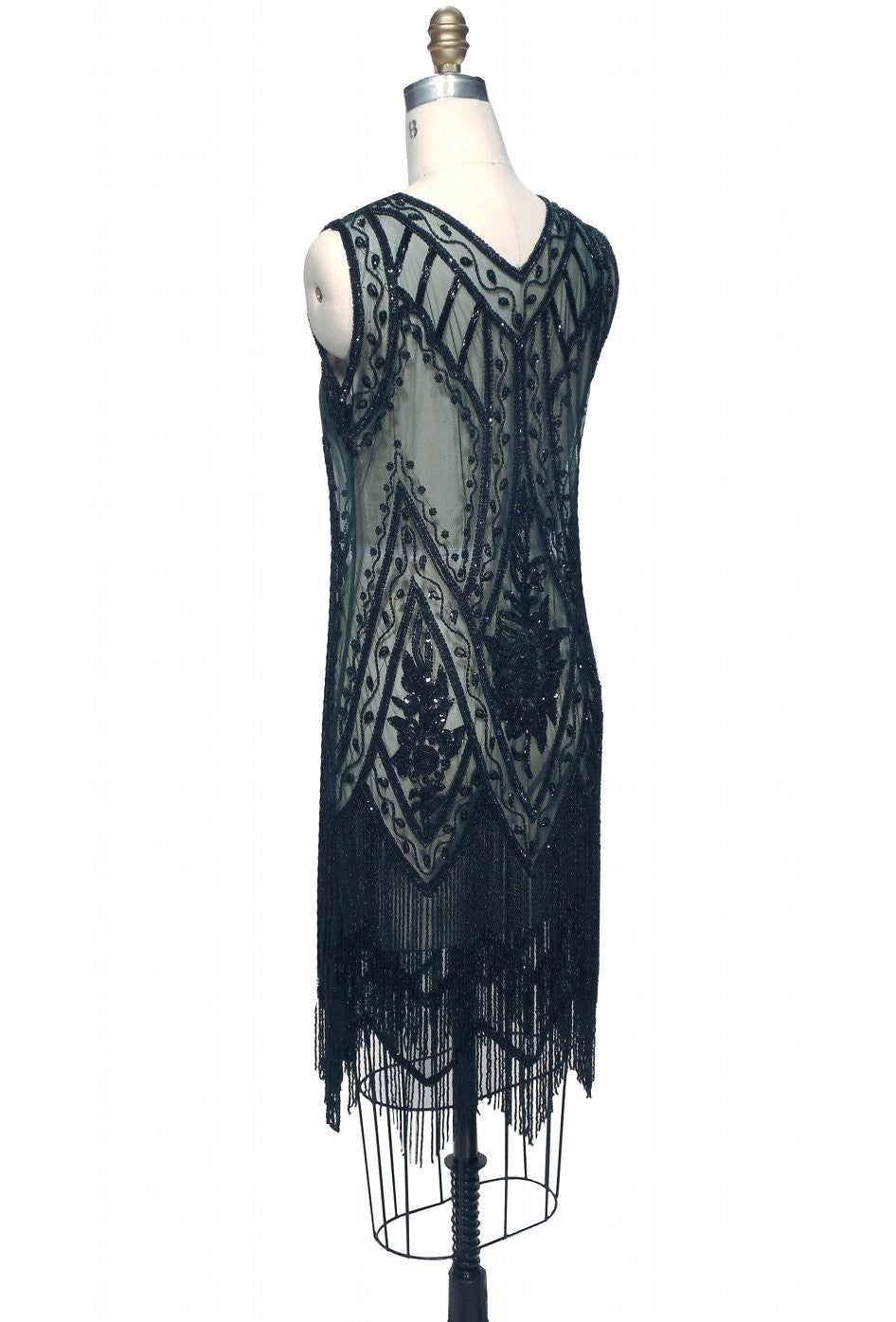 1920\'s Vintage Flapper Beaded Fringe Gatsby Gown - The Icon - Bottle ...