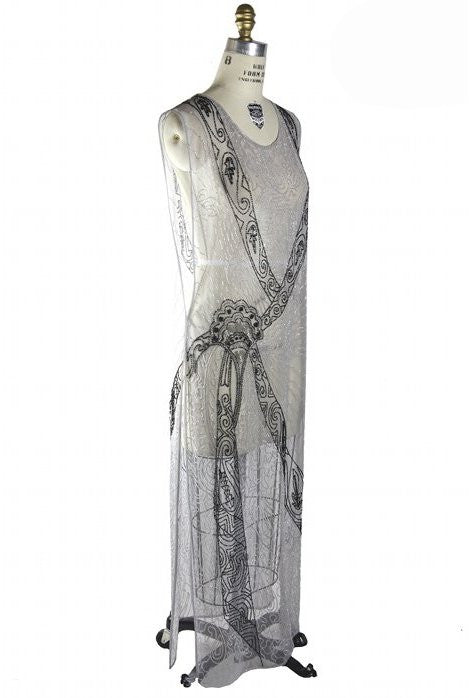 1930s Art Deco Hand Beaded Panel Gown - The Corsage - Silver - The Deco Haus