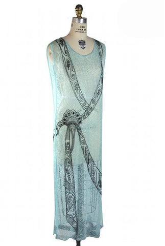 1930s Art Deco Hand Beaded Panel Gown - The Corsage - Aqua - The Deco Haus