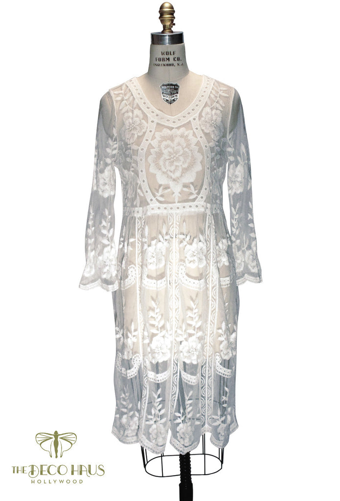 1920s Wedding Dresses- Art Deco Style White 1920s Inspired Vintage Lace Overlay Charlotte Dress $97.95 AT vintagedancer.com