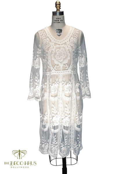 White 1920's Inspired Vintage Lace Overlay Charlotte Dress - The Deco Haus