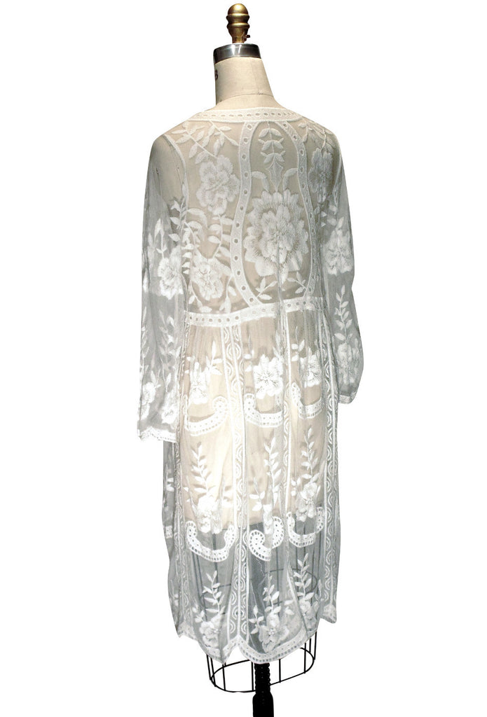White 1920's Inspired Vintage Lace Overlay Charlotte Dress