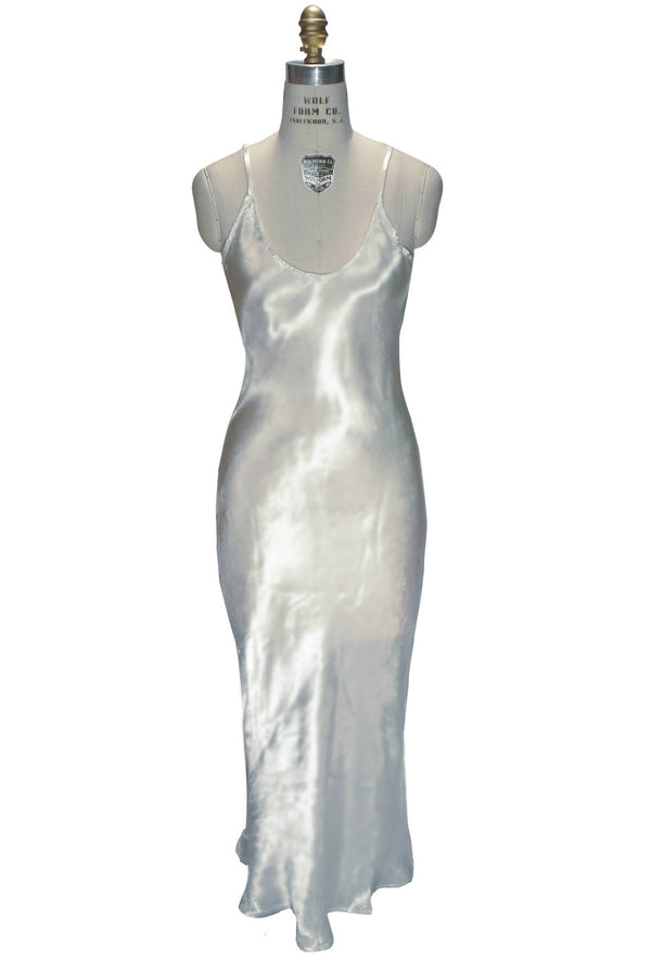 1930's Bias Glamour Full Length Gatsby Wedding Bridal Slip Dress - Ivory - The Deco Haus