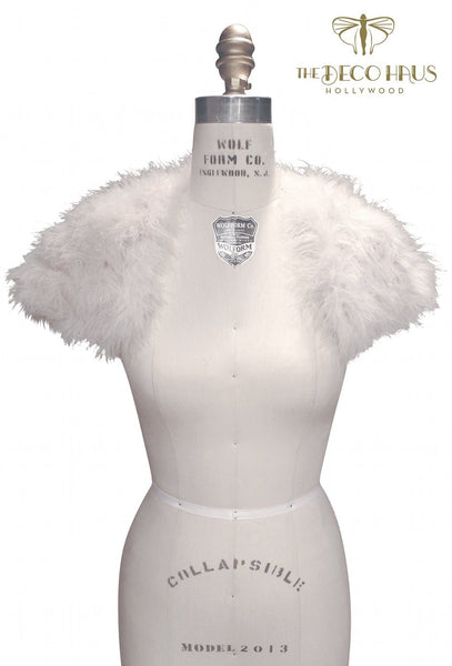 The Parisian Luxury Ostrich Feather Shrug Wrap - Ivory
