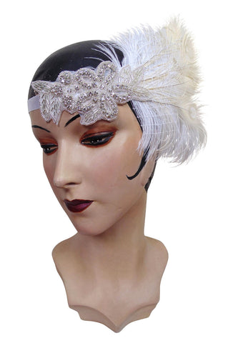 Luxury Ivory Ostrich 1920s Flapper Wedding Headband Bandeau - The Deco Haus