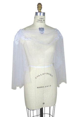 Ethereal Tulle Beaded Shoulder Vintage Style Evening Wrap - Ivory - The Deco Haus