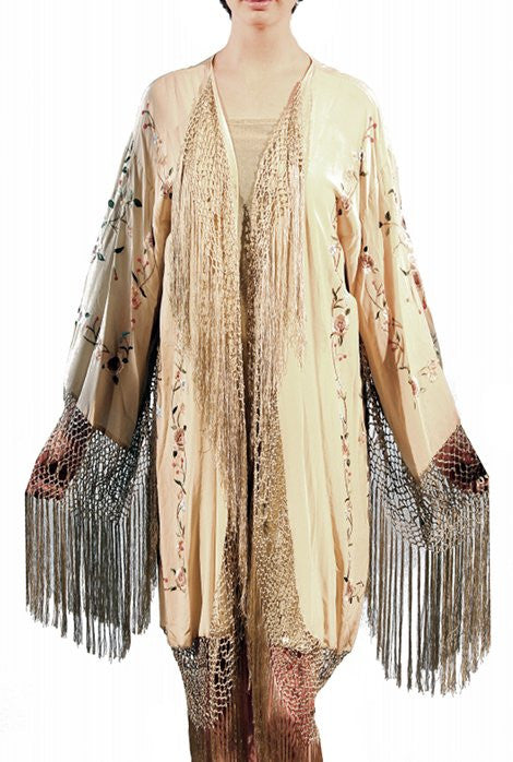 The 1920's Oriental Piano Silk Embroidered Flamenco Lounging Robe - Bisque Cream - The Deco Haus